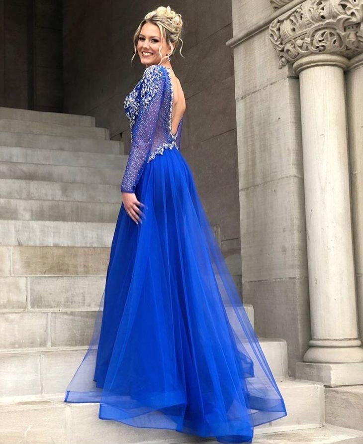 Vestido para casamento azul royal