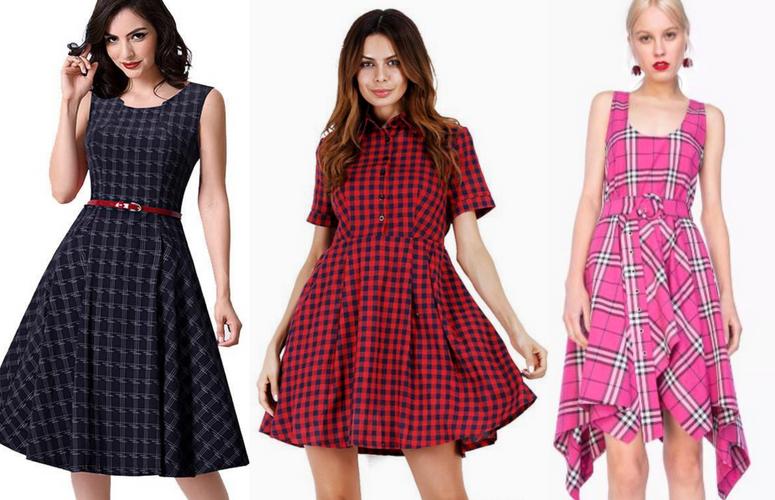 361015044 Vestido Xadrez Midi / Vestido Xadrez Vermelho / Vestido Pink com Cinto