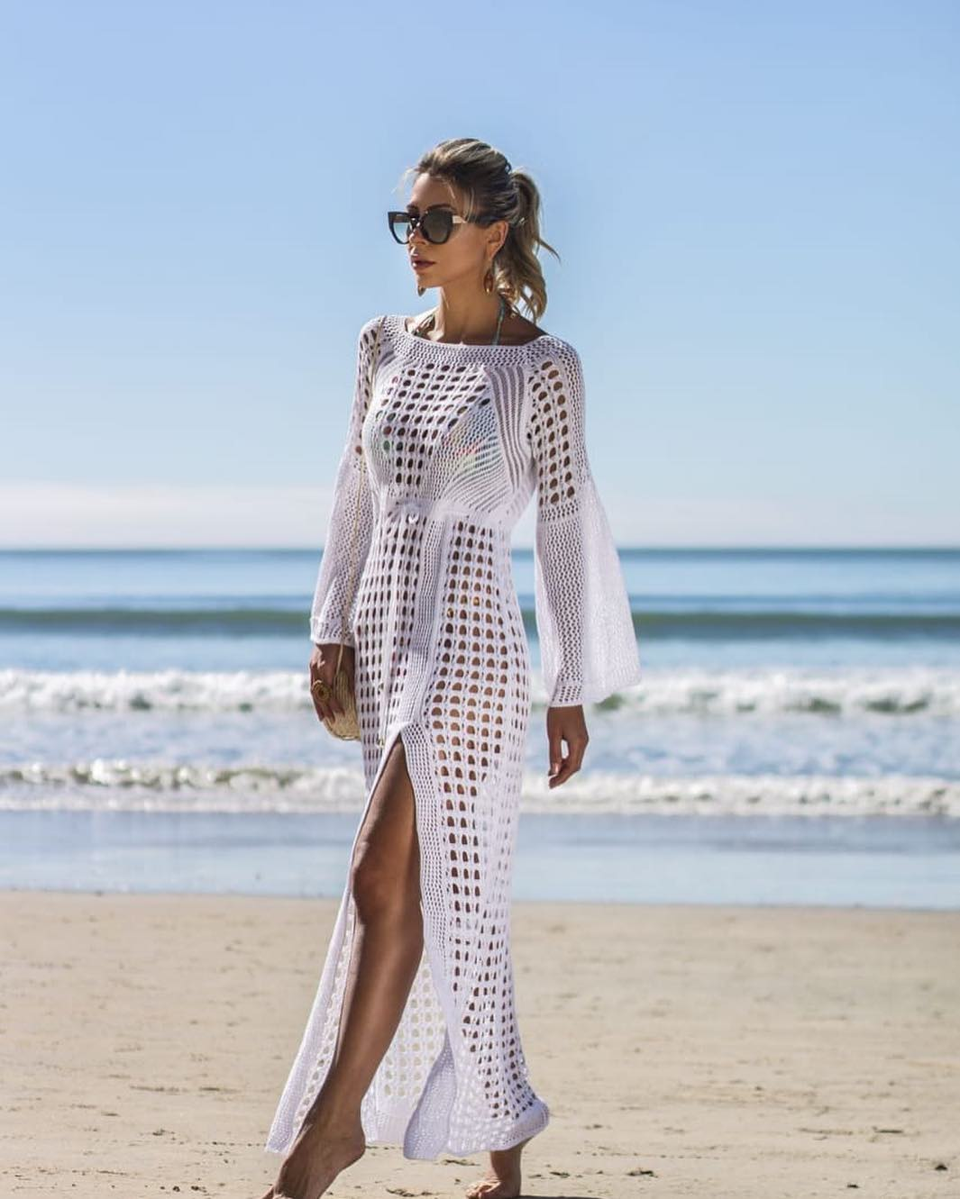 b93e7eebd2c3 Saída de praia longa: 60 looks elegantes para se inspirar