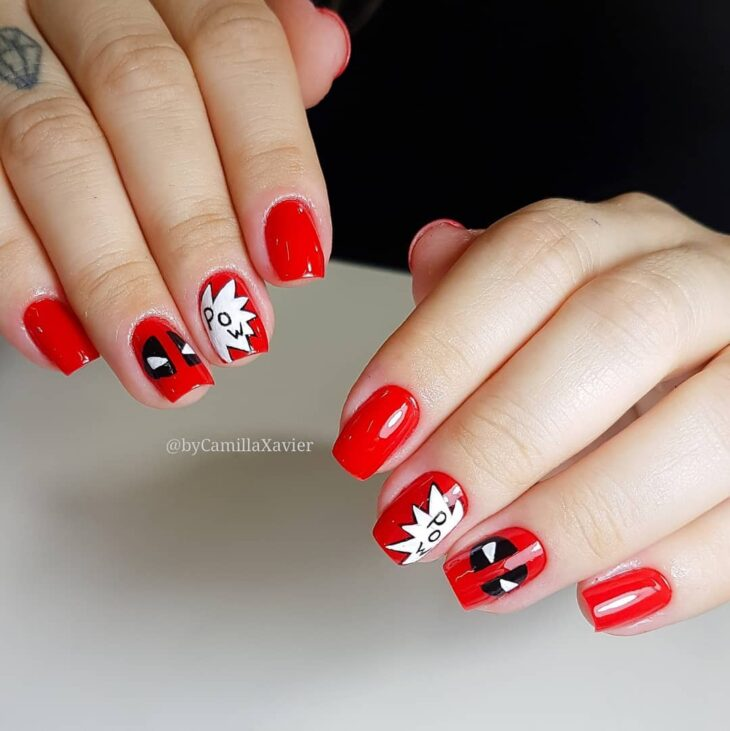 unhas-decoradas-deadpool