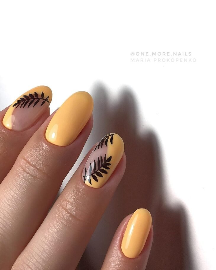 unhas-decoradas-folhas-amarelo