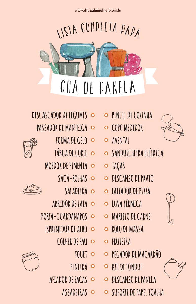 Lista de chá de panela um guia completo para não se esquecer de nada