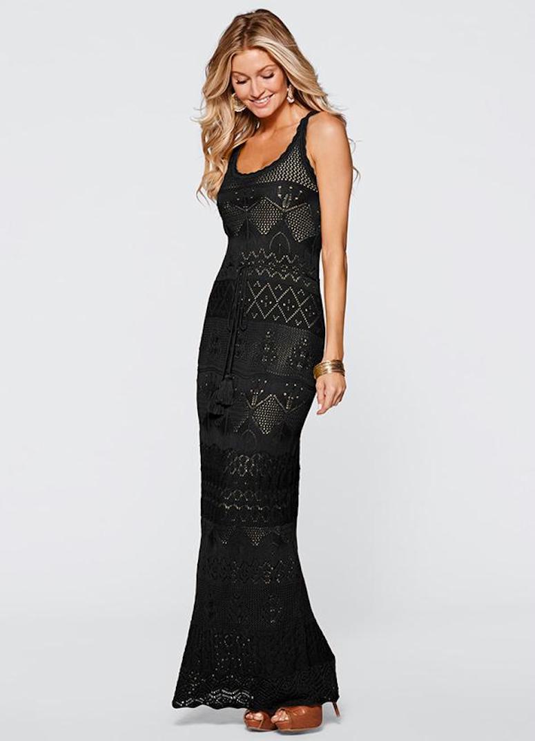 5c2740cb65 30. O vestido longo de crochê justinho valoriza naturalmente a silhueta