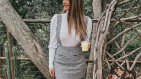 30 looks de saia com suspensório para aderir à tendência e arrasar