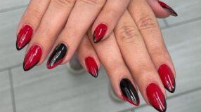 30 fotos de unhas vermelhas com preto cheias de glamour e estilo